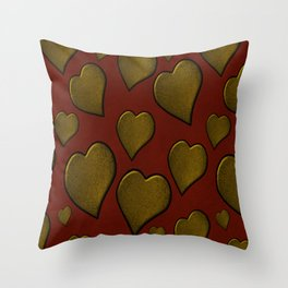Cascading  Hearts red gold Throw Pillow
