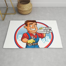 plumber worker with key in the hand Rug