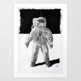 Mister-Bean-on-the-Moon Art Print