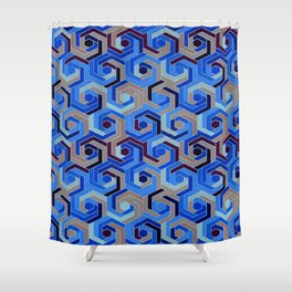 Back in the 60s deep blue Shower Curtain