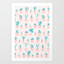 Cacti and Plants in Pots | Original / Peach Palette Art Print