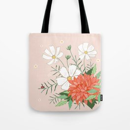 Cosmos and Dahlia on Pink Tote Bag