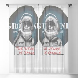 The Future is female space astronaut girl Sheer Curtain