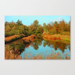 Autumn Colors Pond and Trees Canvas Print