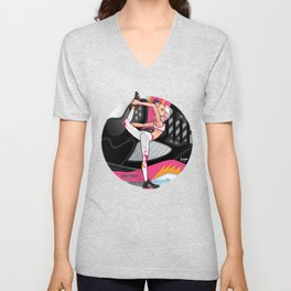Yoga girl Cool Noodle and Cherry Blossom Unisex V-Neck