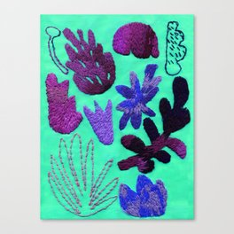 tropical leaves embroidered pattern Canvas Print