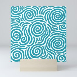 Ripple Effect Pattern Turquoise Mini Art Print