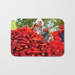 Turkish Woman Preparing Red Peppers Bath Mat