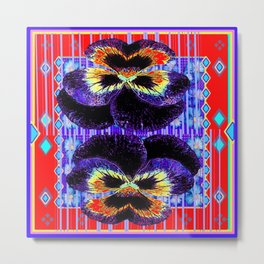 Red Western Style Double Purple & Gold Pansy Metal Print