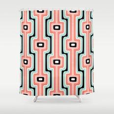 Coral Stripe Mod Shower Curtain