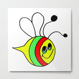 Drawn by hand a colorfull bee for children and adults Metal Print