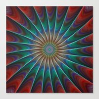 fractal Canvas Prints featuring Peacock fractal by David Zydd
