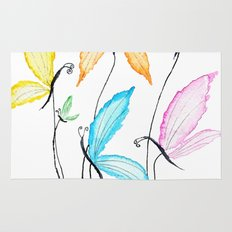 colorful flying butterflies Rug