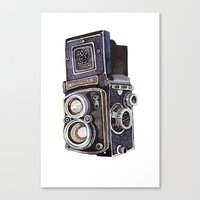 vintage camera Canvas Prints featuring Vintage Camera by Holly Exley Illustration
