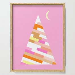 Retro Christmas Tree on Pink Serving Tray