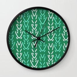 Minimal green and white pattern design spring garden botanical minimalism Wall Clock