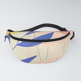 Shapes and Layers no.9 - Leaves and Grid Fanny Pack