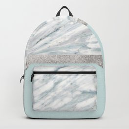 Calacatta verde - silver turquoise Backpack