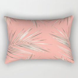 White Gold Palm Leaves on Coral Pink Rectangular Pillow