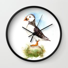 Puffin on a Rock Wall Clock