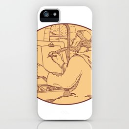 Medieval Monk Writing Illuminated Manuscript Drawing Color iPhone Case