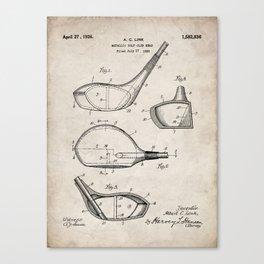 Golf Driver Patent - Golf Art - Antique Canvas Print