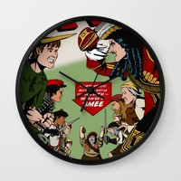 captain hook Wall Clocks featuring Hook Comic by mikaelak