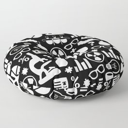 Black and White Science Pattern Floor Pillow