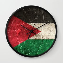 Vintage Aged and Scratched Palestinian Flag Wall Clock