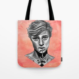 Black and White Graphite Crush on Pink Watercolor Painting Tote Bag
