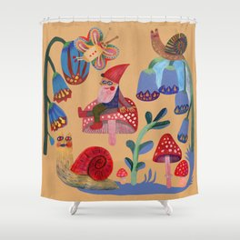 Gnome, snails and butterfies Shower Curtain