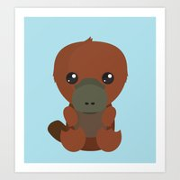 platypus Art Prints featuring Platypus by triduscraft