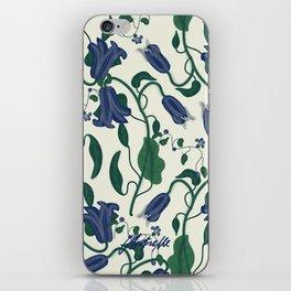 Blue Vintage Flower Pattern iPhone Skin