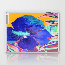Birthday Acrylic Blue Orange Hibiscus Flower Painting with Red and Green Leaves Laptop & iPad Skin
