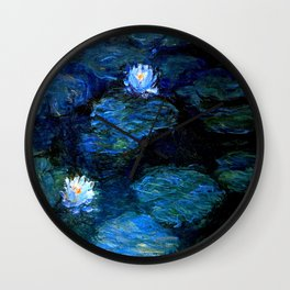 monet water lilies 1899 blue Teal Wall Clock