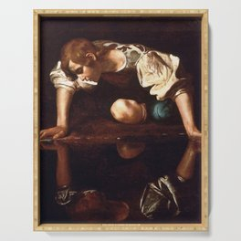 Narcissus by Caravaggio (1599) Serving Tray
