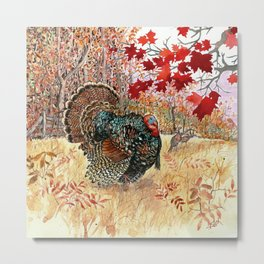 Woodland Turkey Metal Print