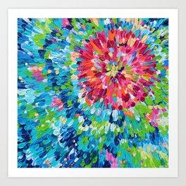 Color Burst Finger Painting Art Print