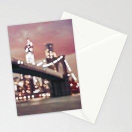 New York City Brooklyn Bridge Lights Stationery Cards