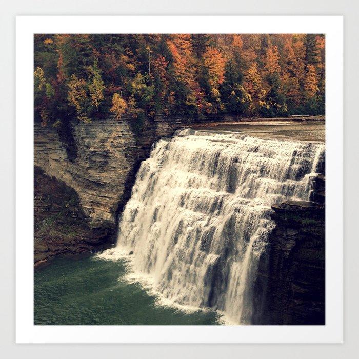 Waterfall in autumn Art Print