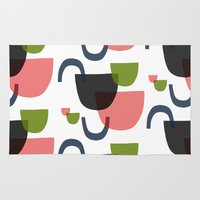 mid century modern Area & Throw Rugs featuring Mid Century Shapes Greebn by Modern Day Magpie