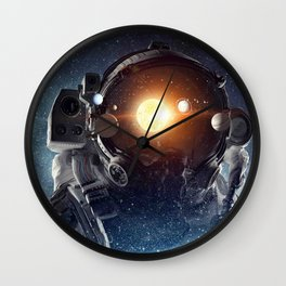 Astronaut helmet head in outer space galaxy Wall Clock