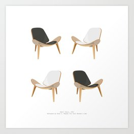 Black and White Shell Chairs Art Print