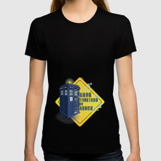 Doctor Who Tardis - Baby Timelord on Board SMALL Black Womens Fitted Tee