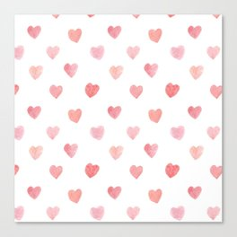 valentines' day watercolor heart pattern Canvas Print