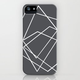 Grey and White abstract geometric iPhone Case