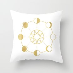 Gold Moon and Sun Phases Throw Pillow