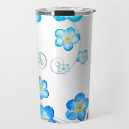 blue forget me not watercolor 2017 Travel Mug