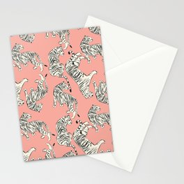 White Tigers on Pink Stationery Cards