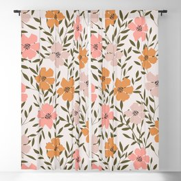 70s Floral Theme Blackout Curtain